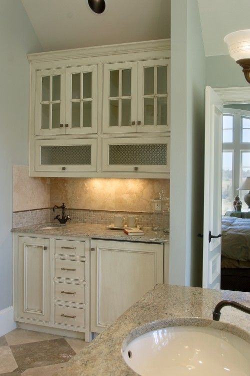 traditional coffee bar in master bathroom