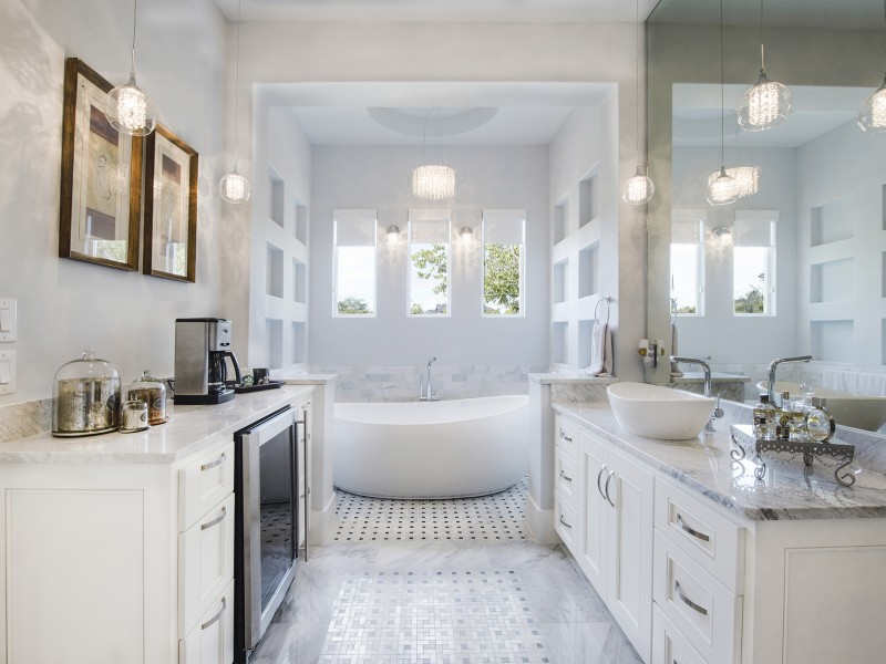 contemporary master bathroom with coffee bar