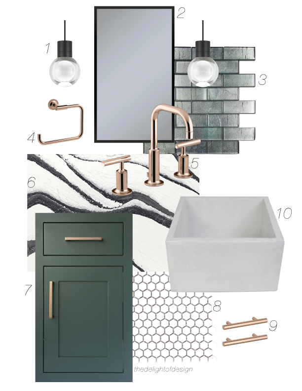 this contemporary chic bathroom uses an apron front native trails concrete sink, emerald cabinets, rose gold fixtures and hardware, contemporary fittings and a classic hive floor mosaic. gilded glass tile and contemporary tunable pendants seal the glamour of this concept.