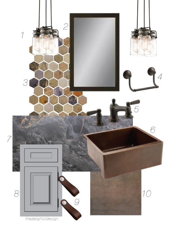 rustic farmhouse concept board using a copper apron front sink, brushed granite, leather pulls, gray vanity, oil rubbed bronze fixtures, a slate mosaic, bundled pendant lights, and a porcelain flooring.