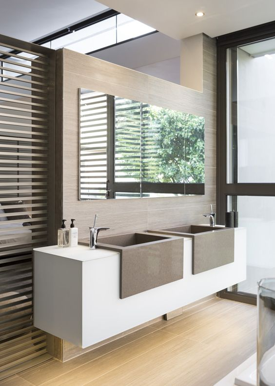 contemporary bathroom with contemporary minimalist apron front sinks in vanity and side mounted faucets