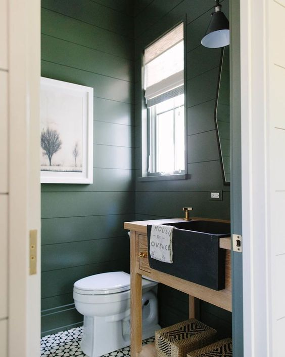 farmhouse style bathroom with apron front vanity sink