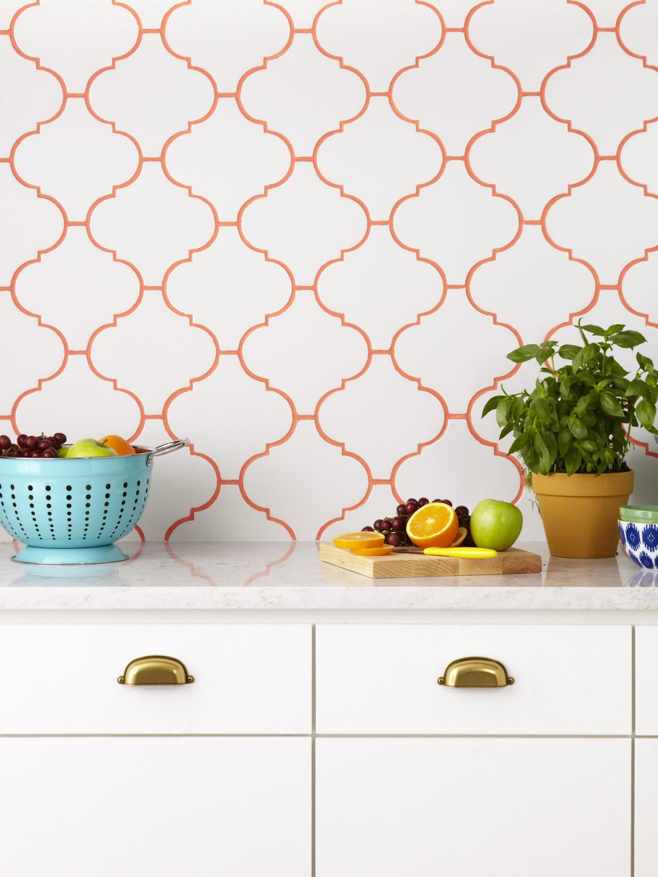 colored statement grout on arabesque ceramic tile mosaic