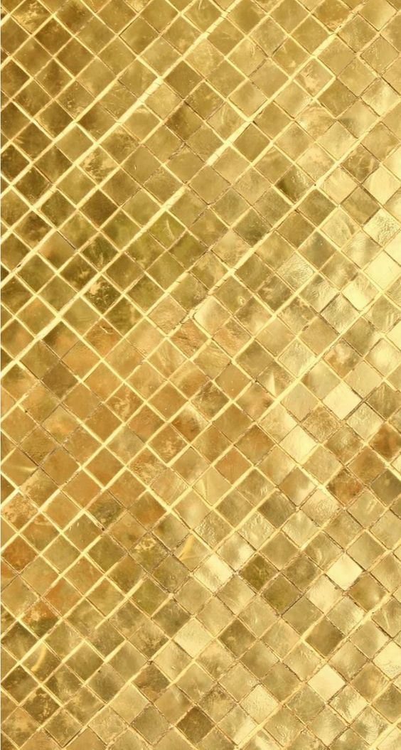 gold square tile mosaic with gold metallic grout