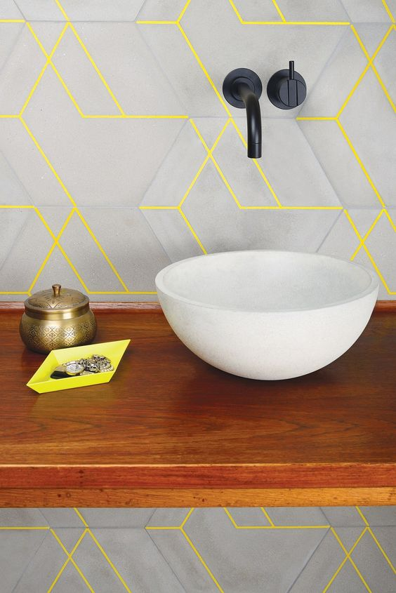 neon yellow statement color grout on cement tile