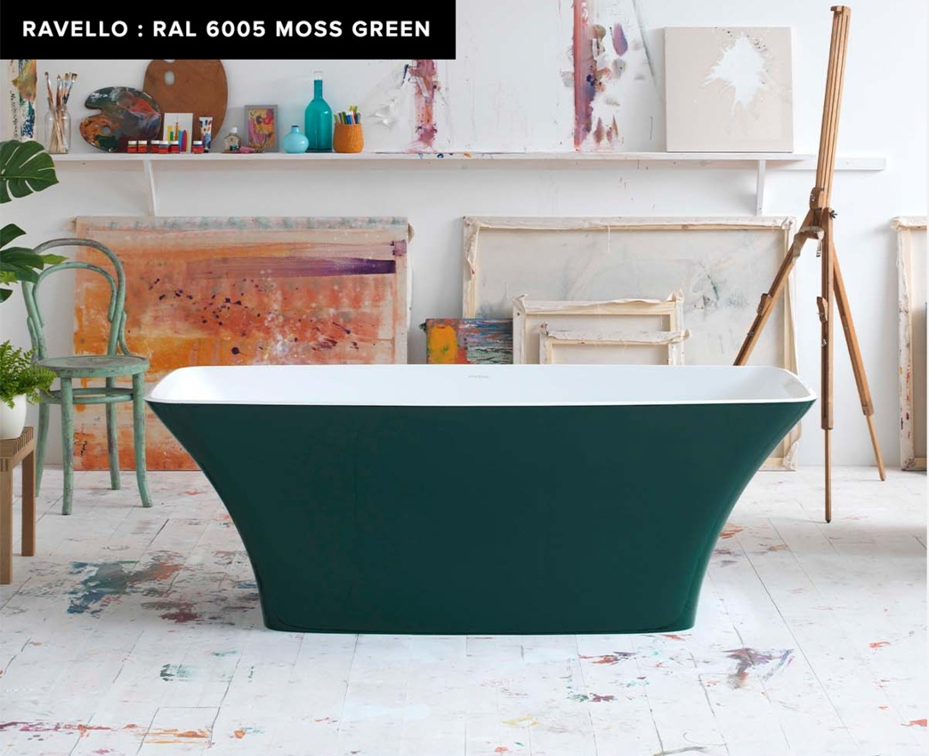 victoria + albert freestanding ravello tub in ral 6005 moss green