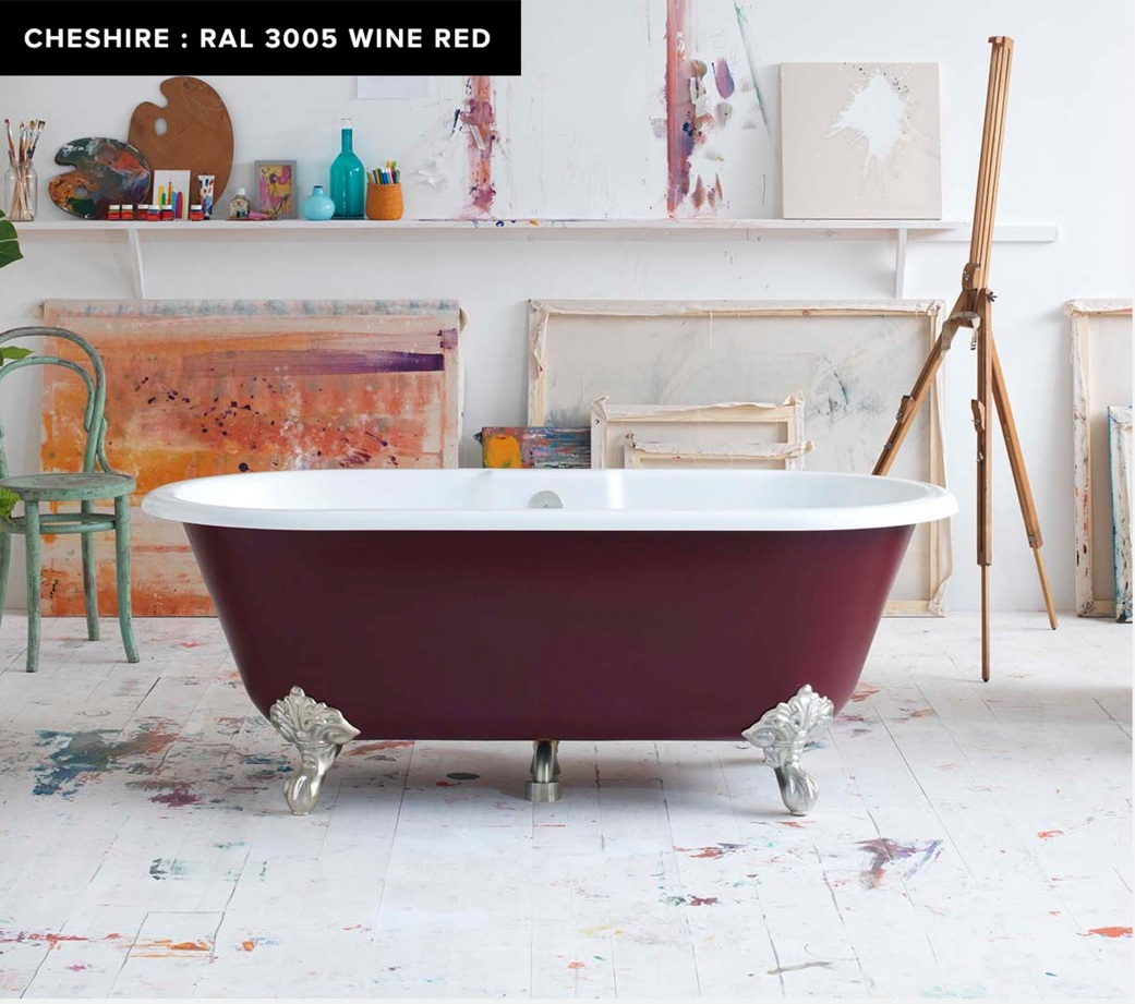 victoria + albert freestanding chesire tub in ral 3005 wine red