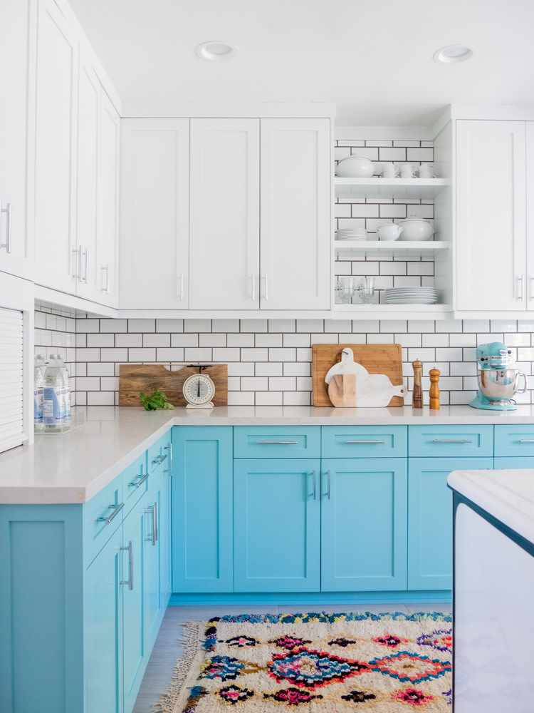 colorful kitchen blue shaker cabinets