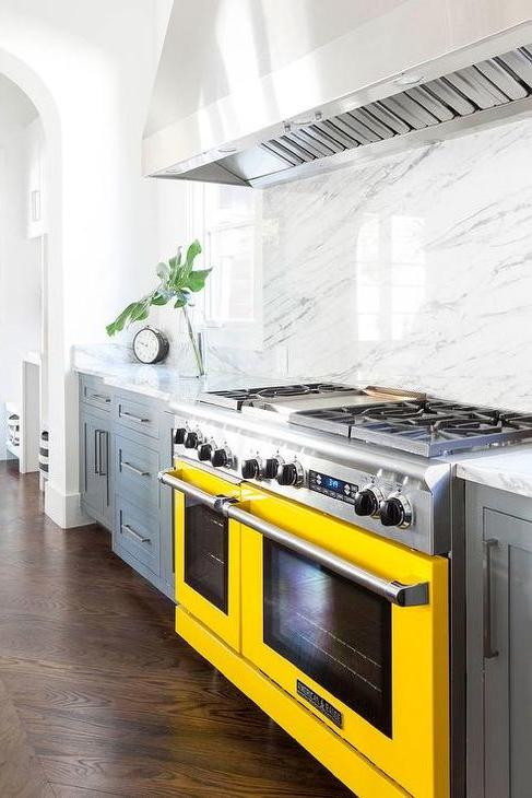yellow colored appliance range