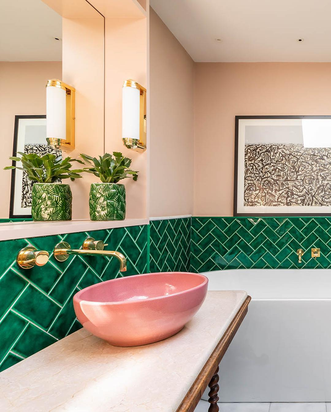 pink and green bathroom