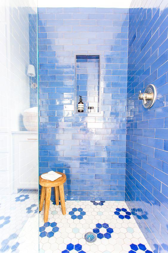 blue shower floral hex