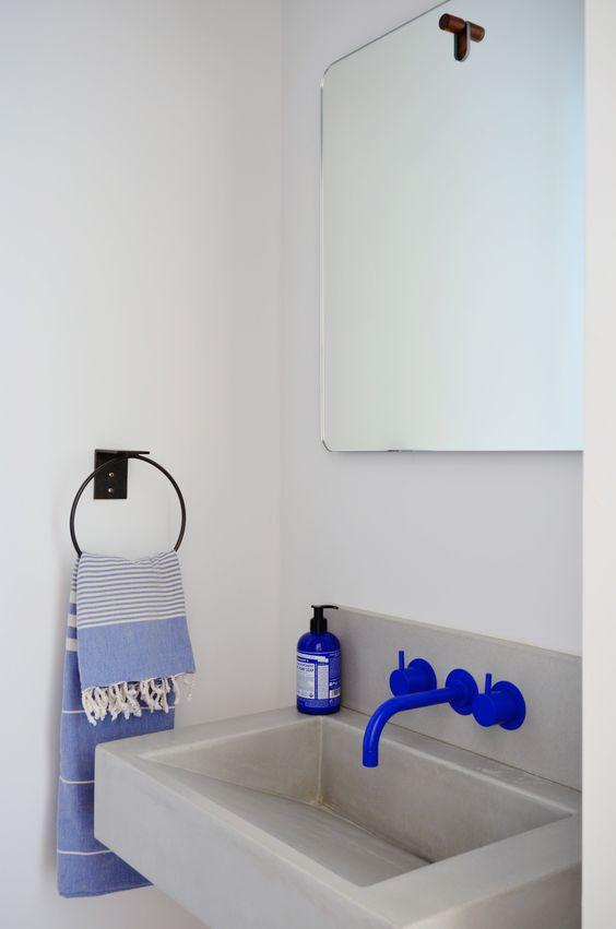 blue wall mounted lav faucet
