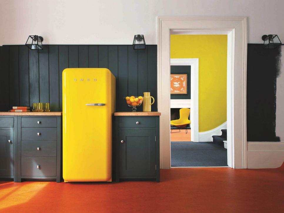 yellow smeg fridge