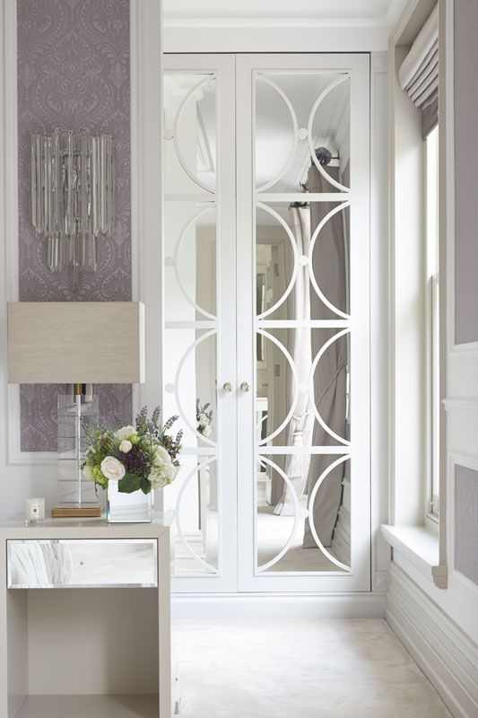 light cabinet with mirror and decorative mullion insert