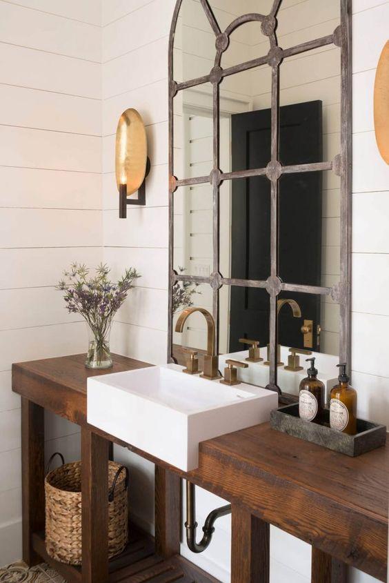 light gray wood mirror with decorative mullion