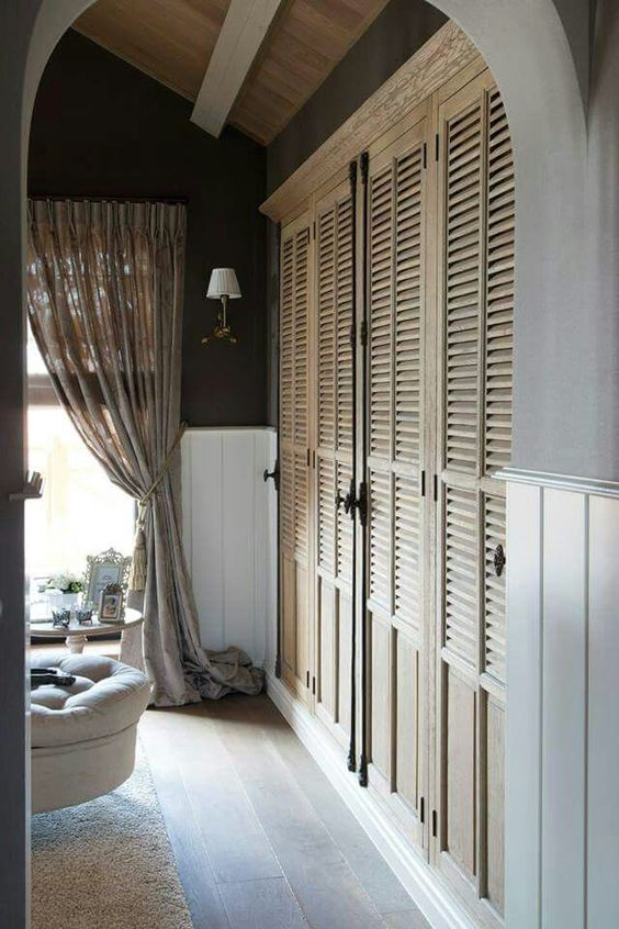 grey oak french closet doors with black cremone bolts