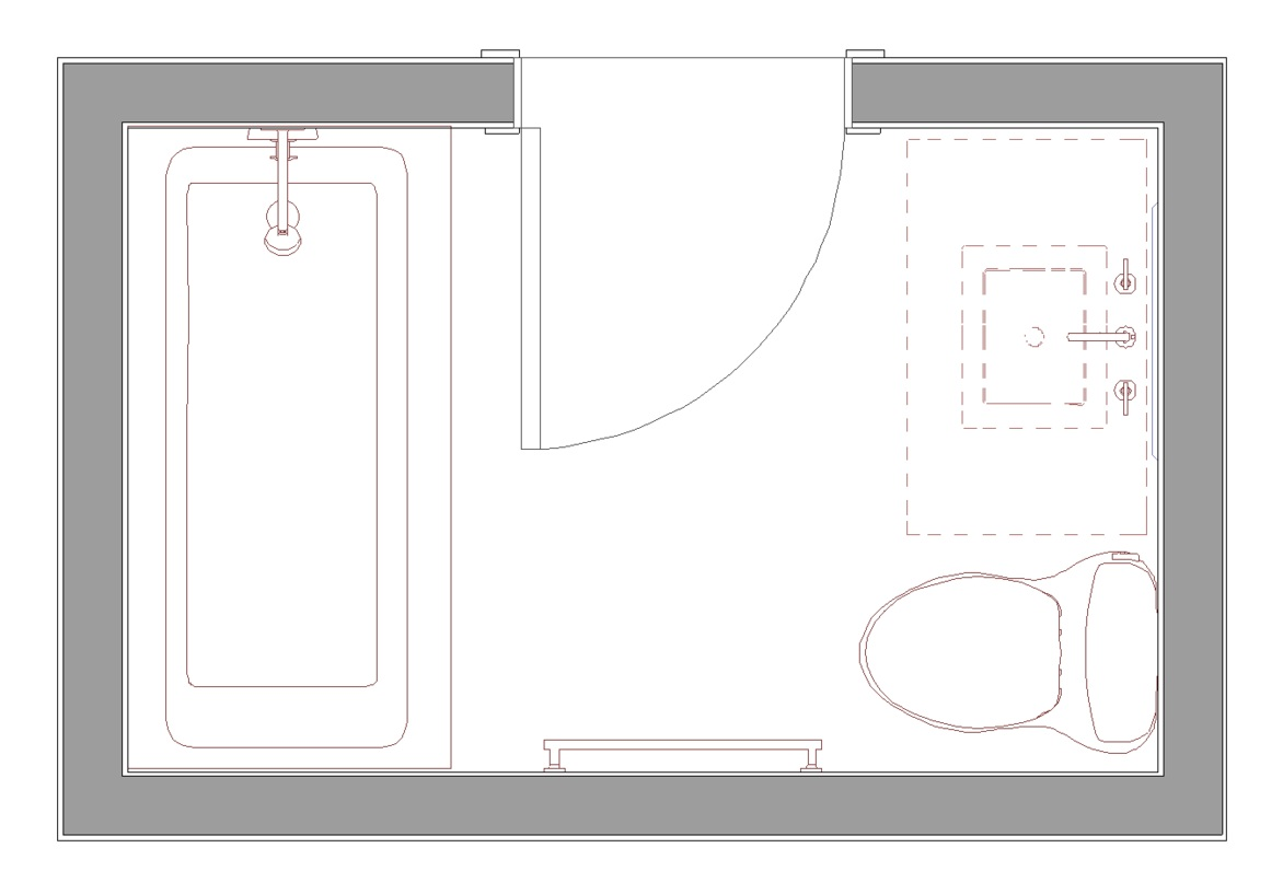 """our standard layout for a 6' x 8' bath with 36"""" vanity, 5' tub/shower combo"""