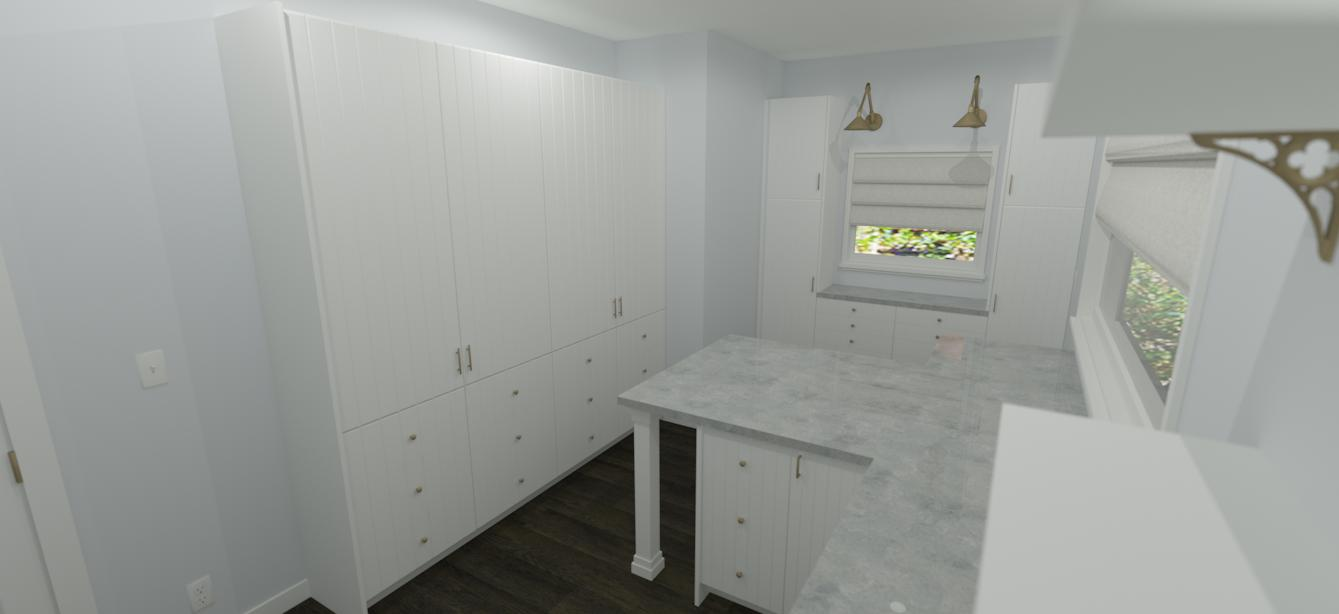 sewing room concept custom ikea cabinetry render