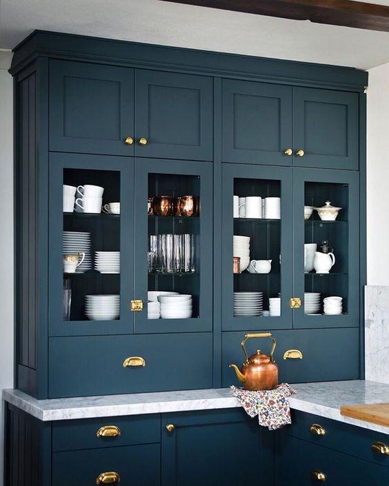 custom ikea kitchen cabinets dark blue shaker brass cup pulls