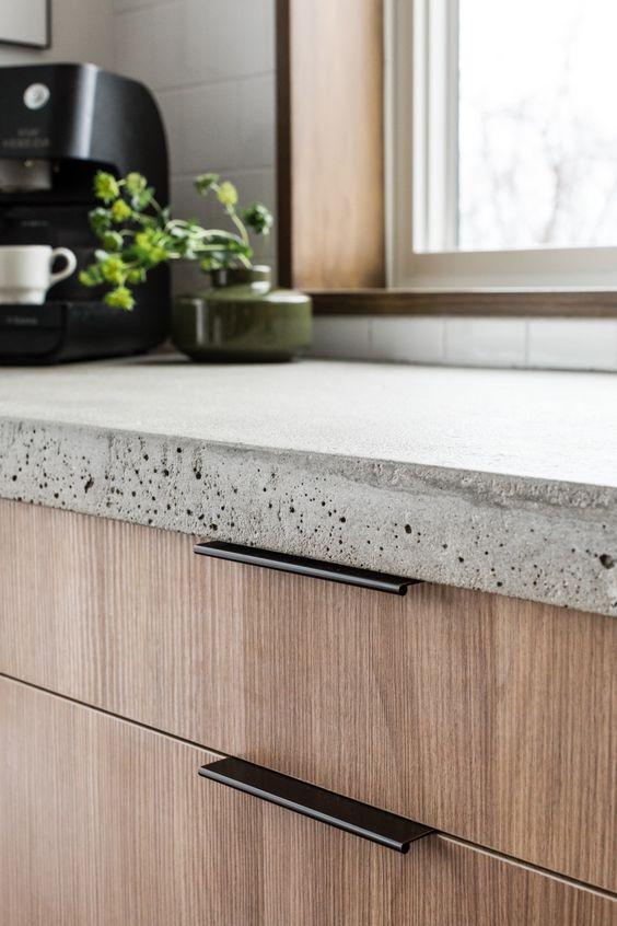 custom ikea kitchen cabinet drawer front wood veneer black pull cement top