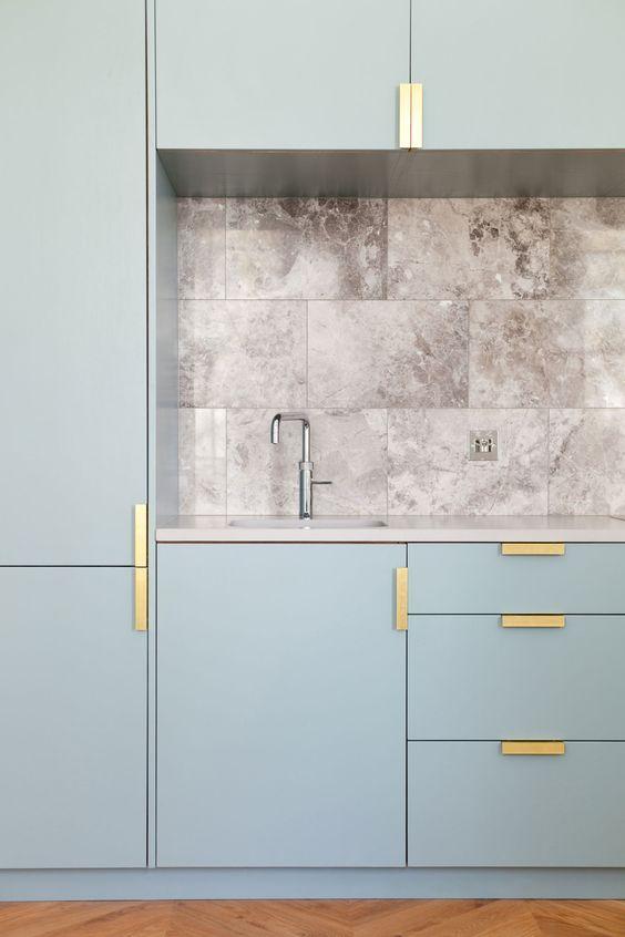 light blue custom ikea kitchen cabinets geometric brass pulls