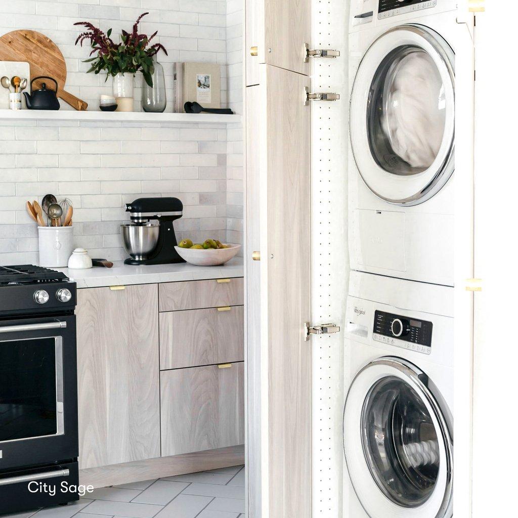 natural wood custom ikea cabinet laundry room utility storage brass finger pulls open shelving