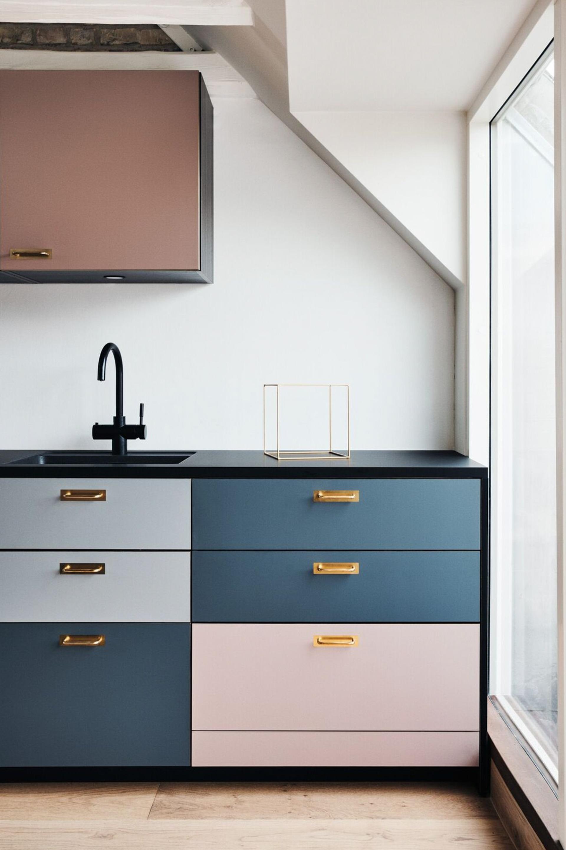 contemporary multicolor custom ikea kitchen cabinet sektion reform brass pull matte black drawer storage blush