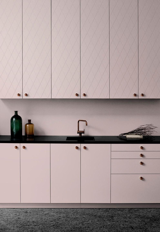 rose gold and blush custom ikea kitchen cabinets