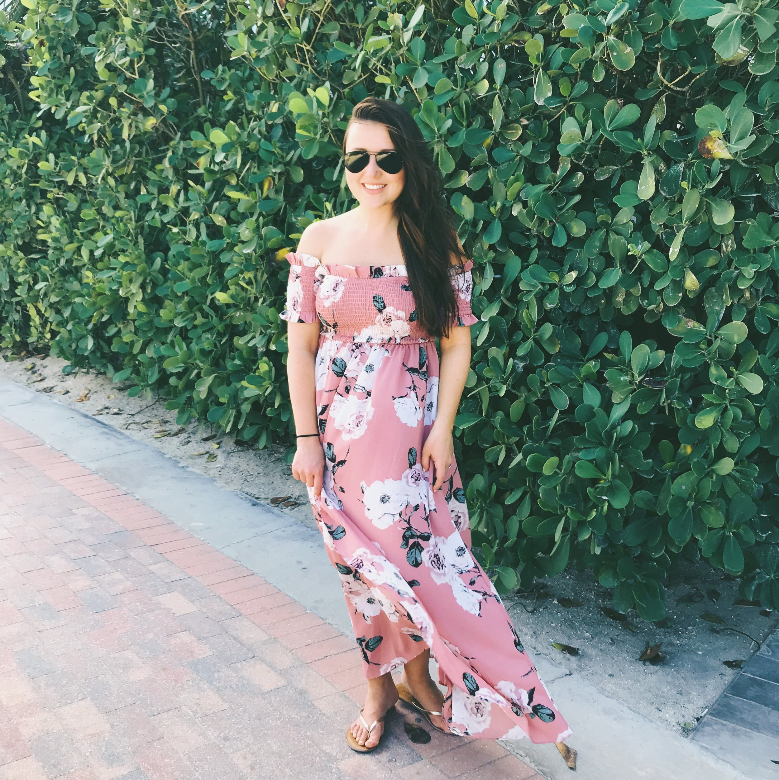 My floral off-the-shoulder dress is currently under $25 here:  http://shrsl.com/s1rl