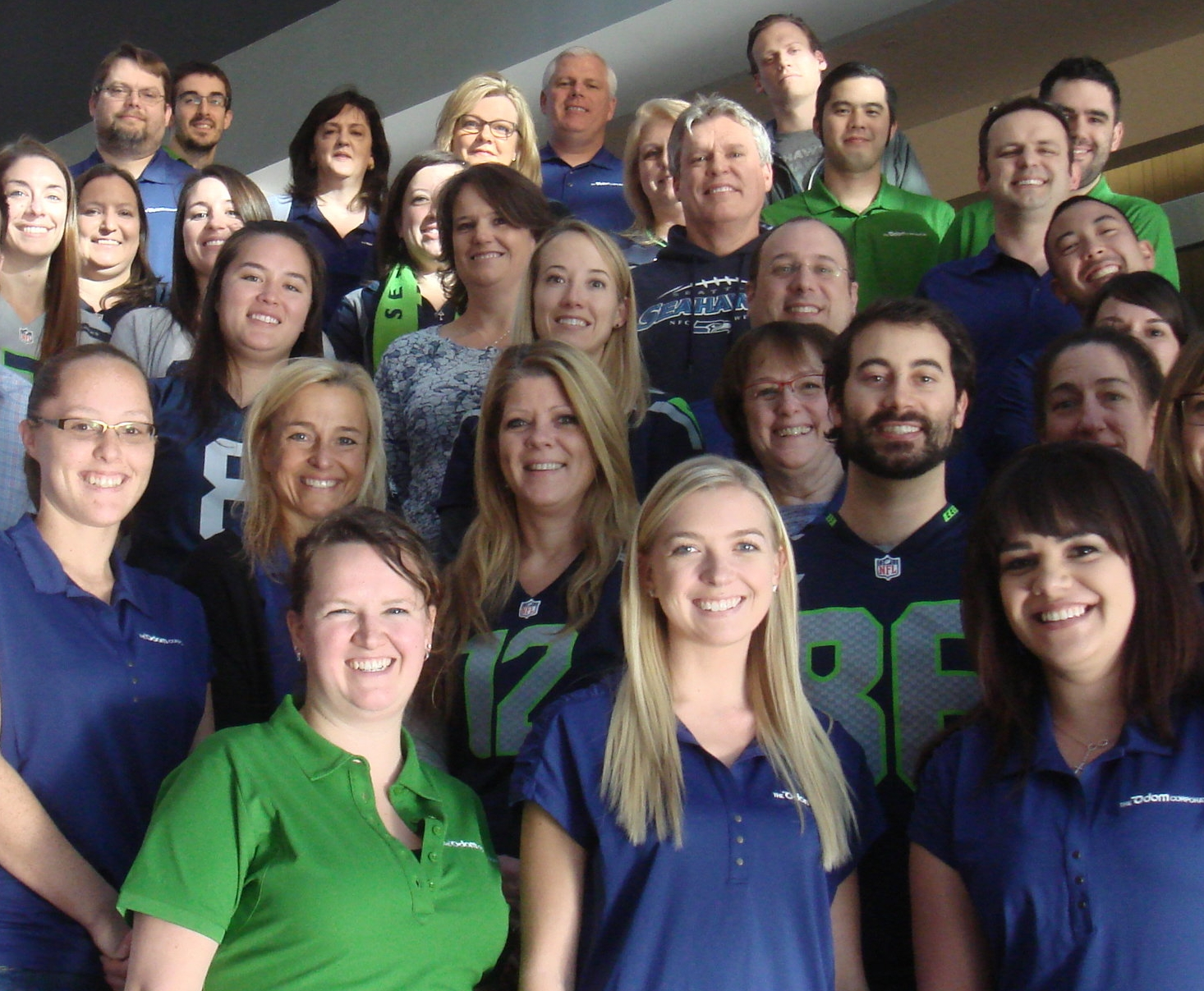 Team members from the corporate office celebrating Blue Friday