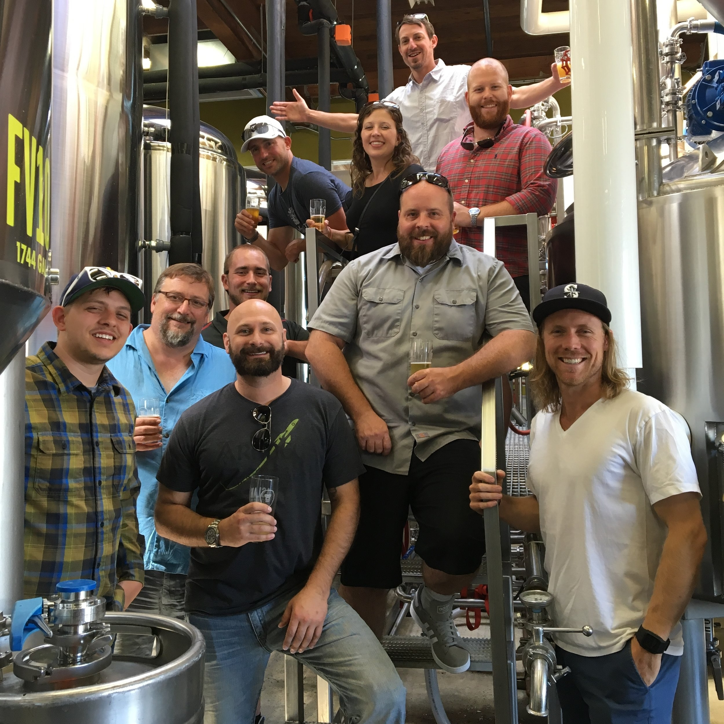 Members of the sales team visiting a local brewery