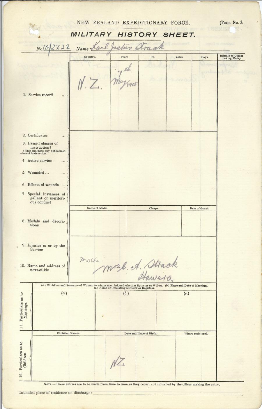 Strack KJ History Sheet Page 1