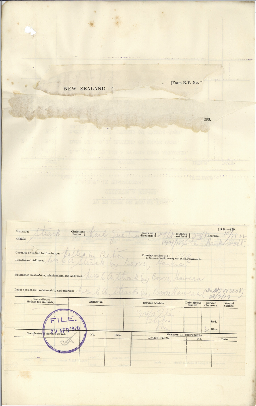 Strack KJ History Sheet Page 2