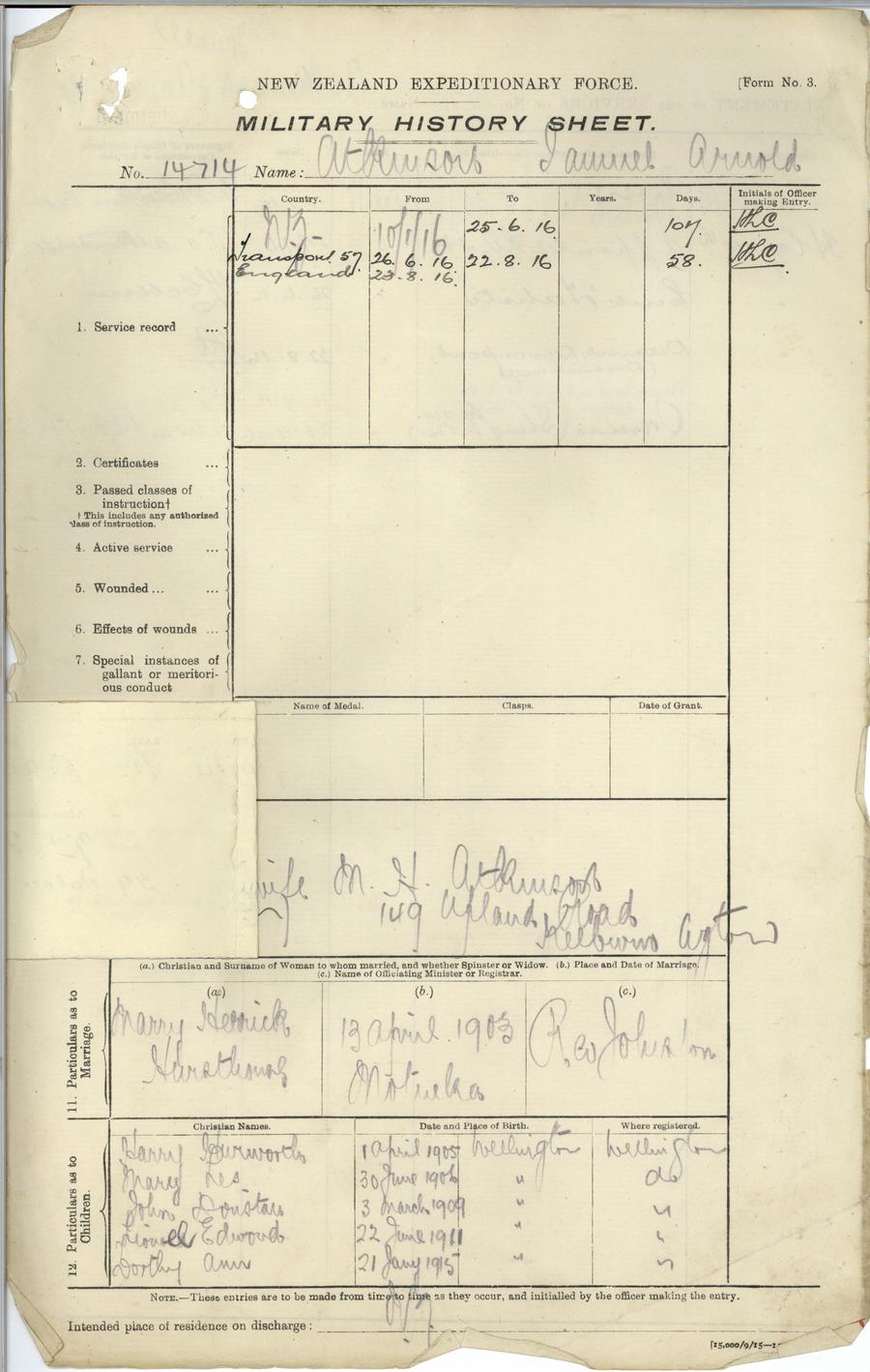 Atkinson SA History Sheet
