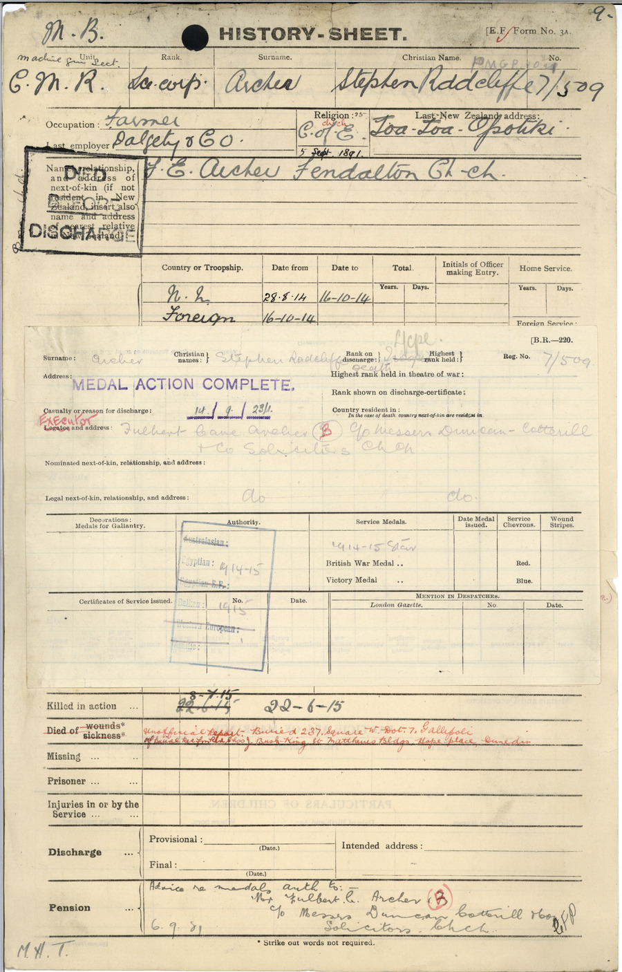 Archer SR History Sheet 1