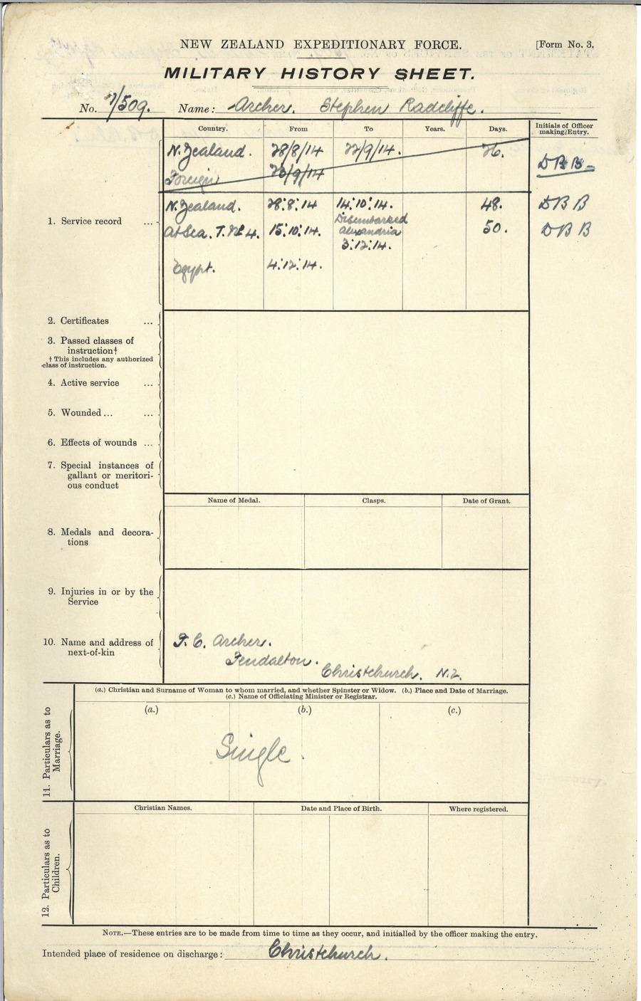 Archer SR History Sheet 2