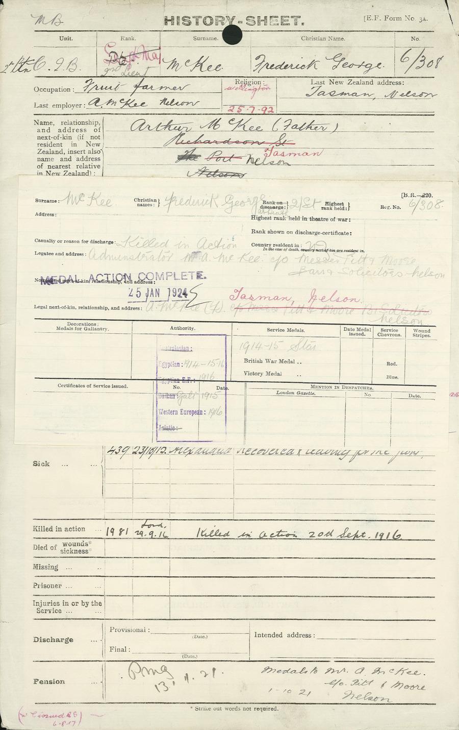 McKee FG History Sheet