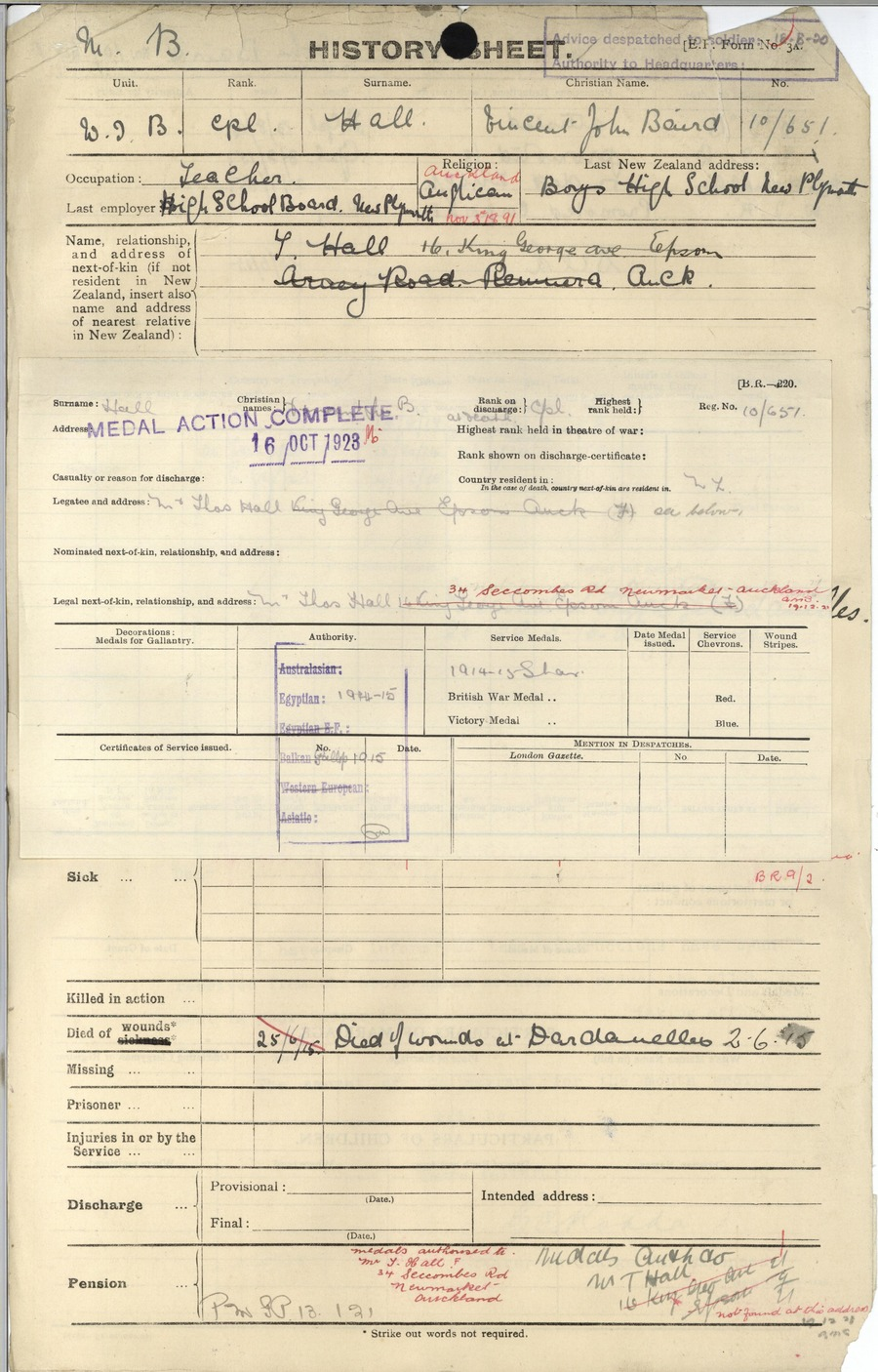 Hall VJB History Sheet