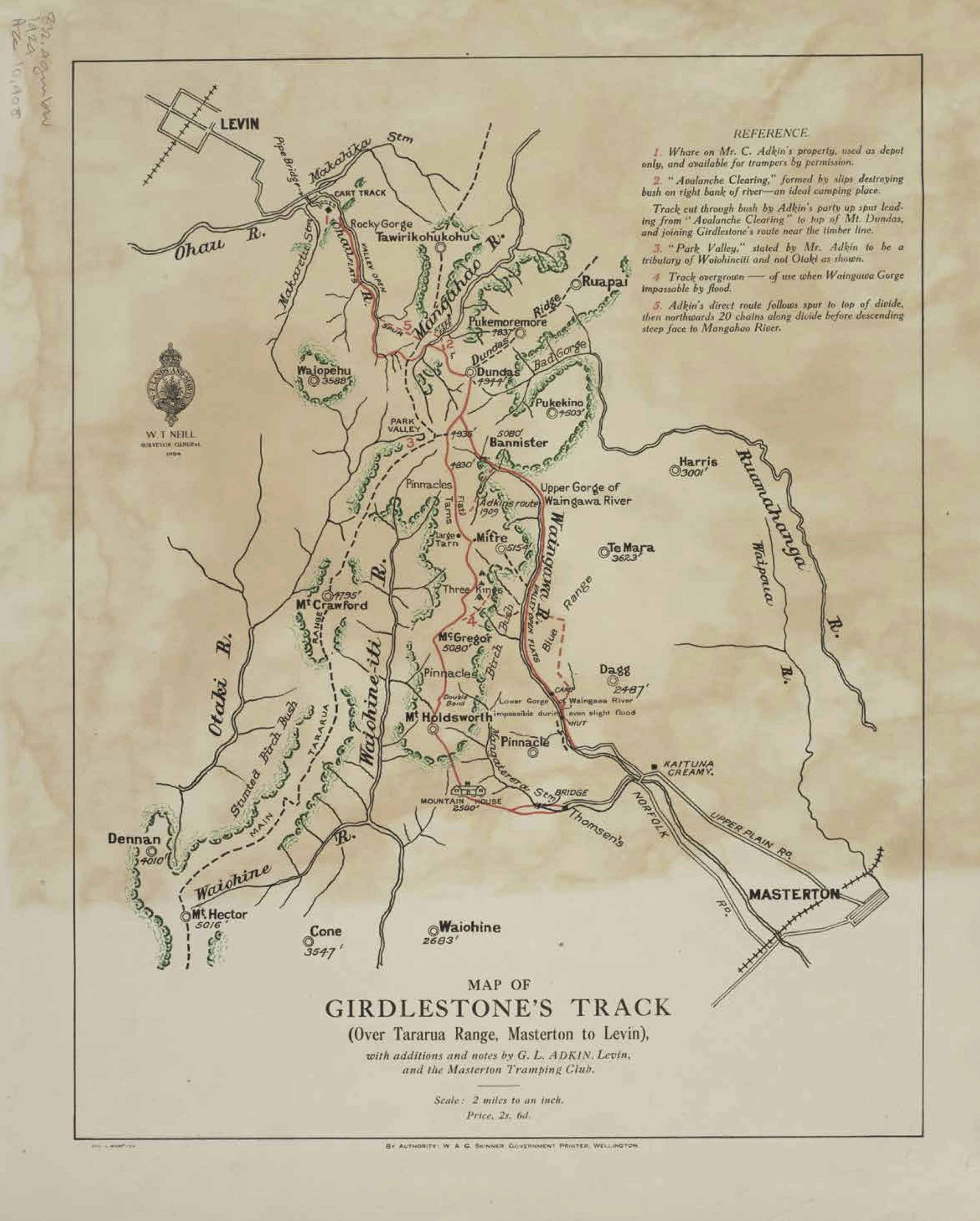Map of Girdlestone's Track