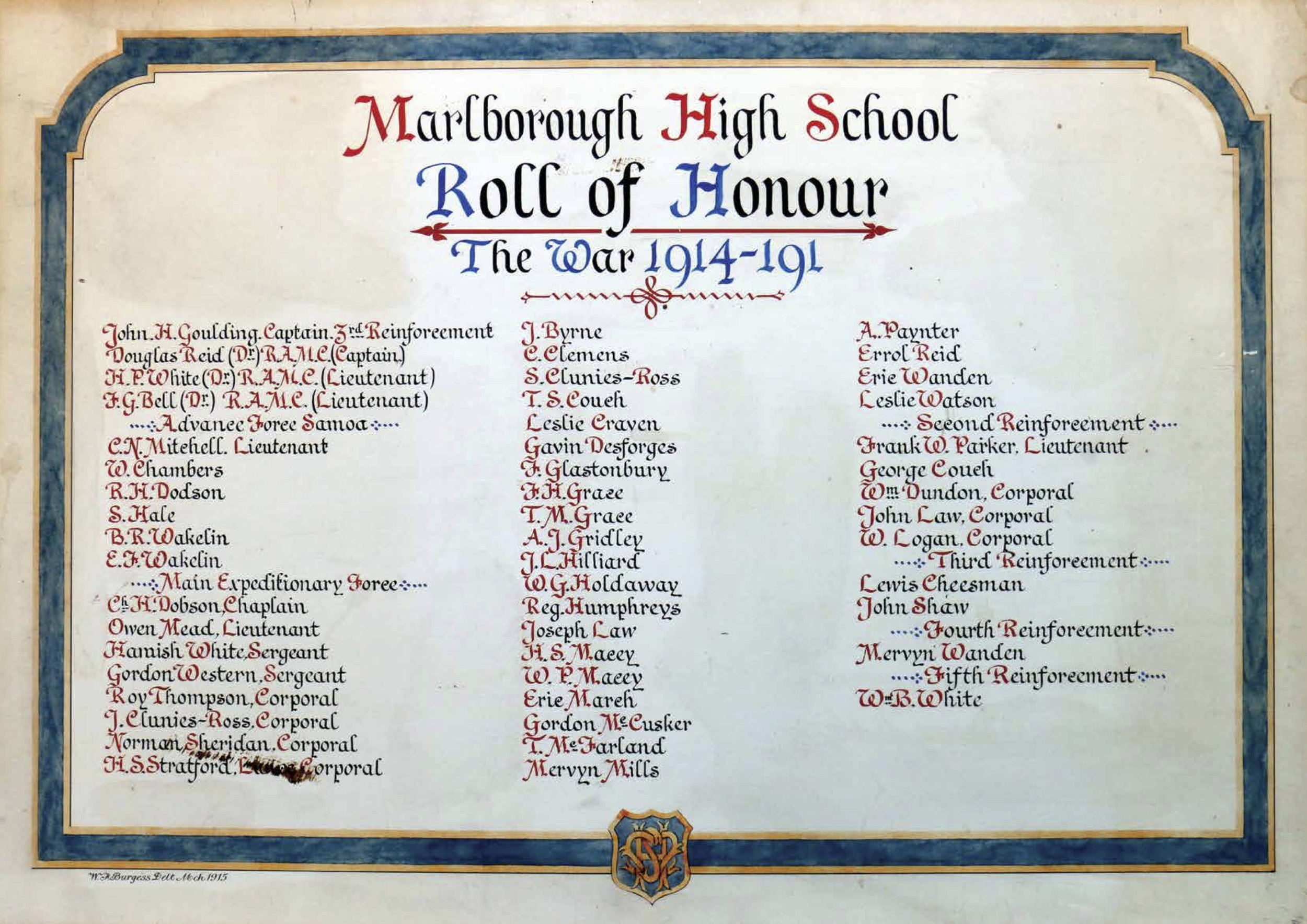A Roll of Honour with no end-date