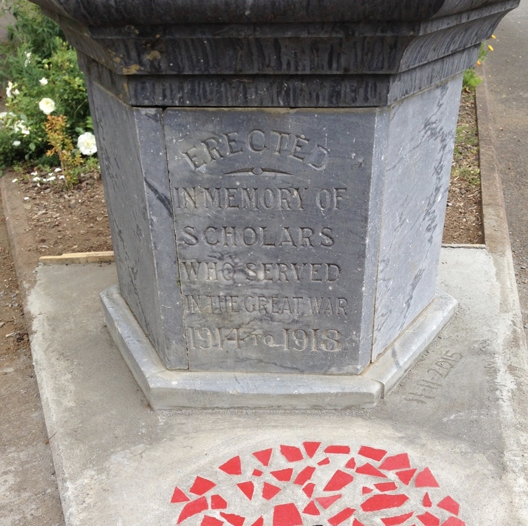 Thames South School - The Walking with an Anzac Team found the first clue in Len's story when they visited Thames South School (which the Kaueranga schools were merged into). This drinking fountain (now a sundial) was donated