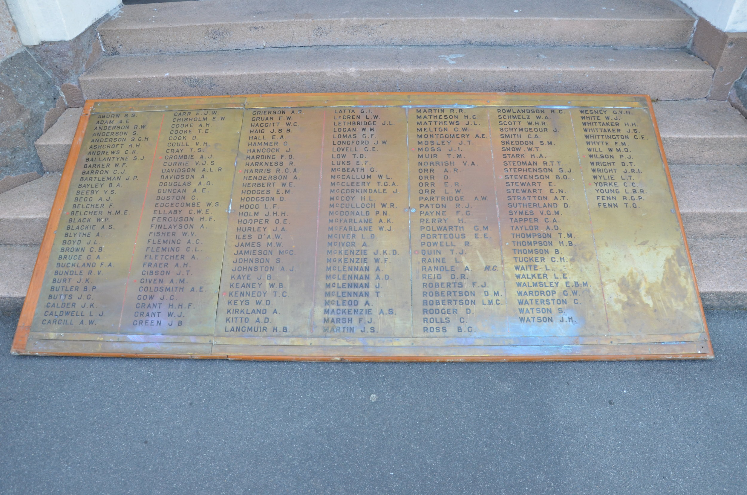 Otago Boy's High School - The Walking with an Anzac Team found the first clue in Alex's story when they visited Otago Boy's High School and discovered that there were missing brass panels. After some significant searching of the school the history teachers uncovered the enormous brass plaques in between walls in the school entrance.Further research on the same platforms you have used today allowed us to discover Alexander's Story.