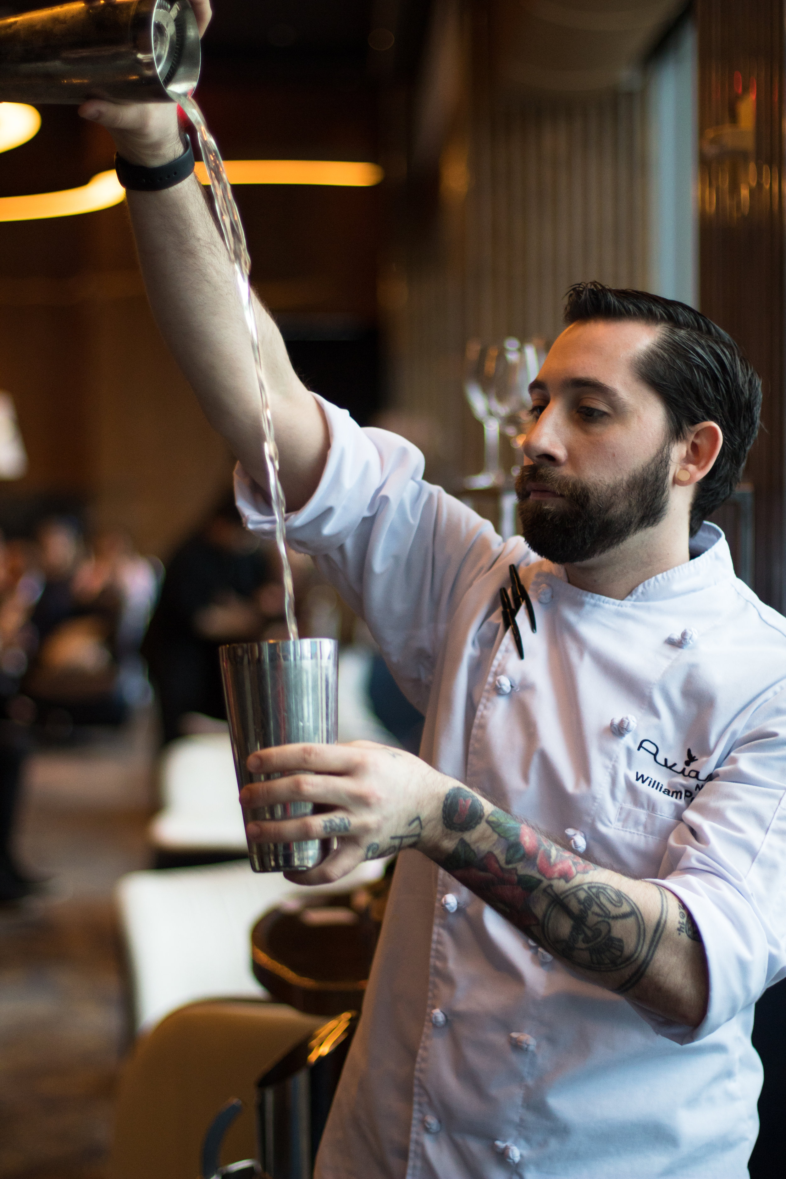 Will Peet, of The Aviary NYC @ Mandarin Oriental, throwing a cocktail