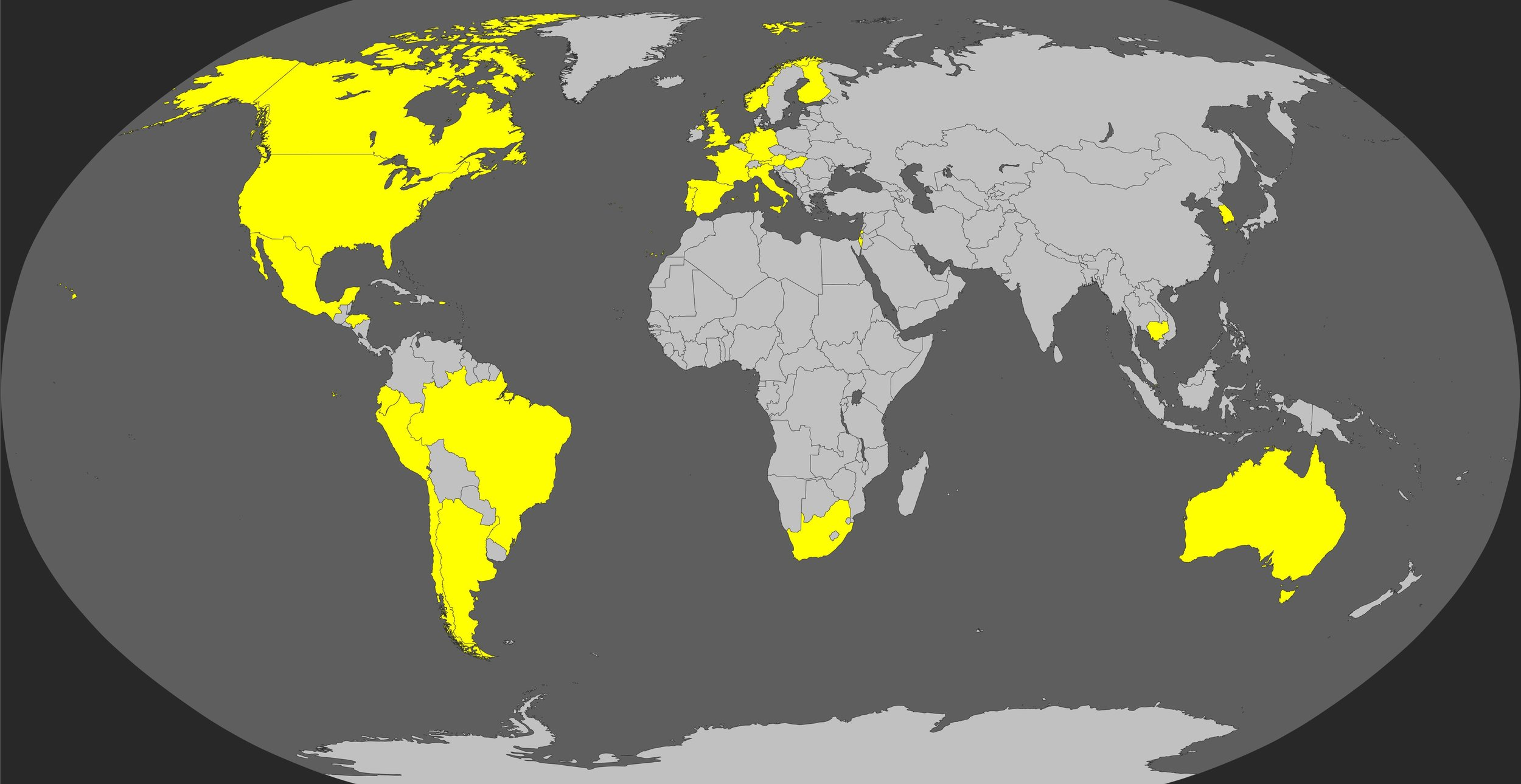 (countries representing current Experimental Sound Society members marked in yellow)
