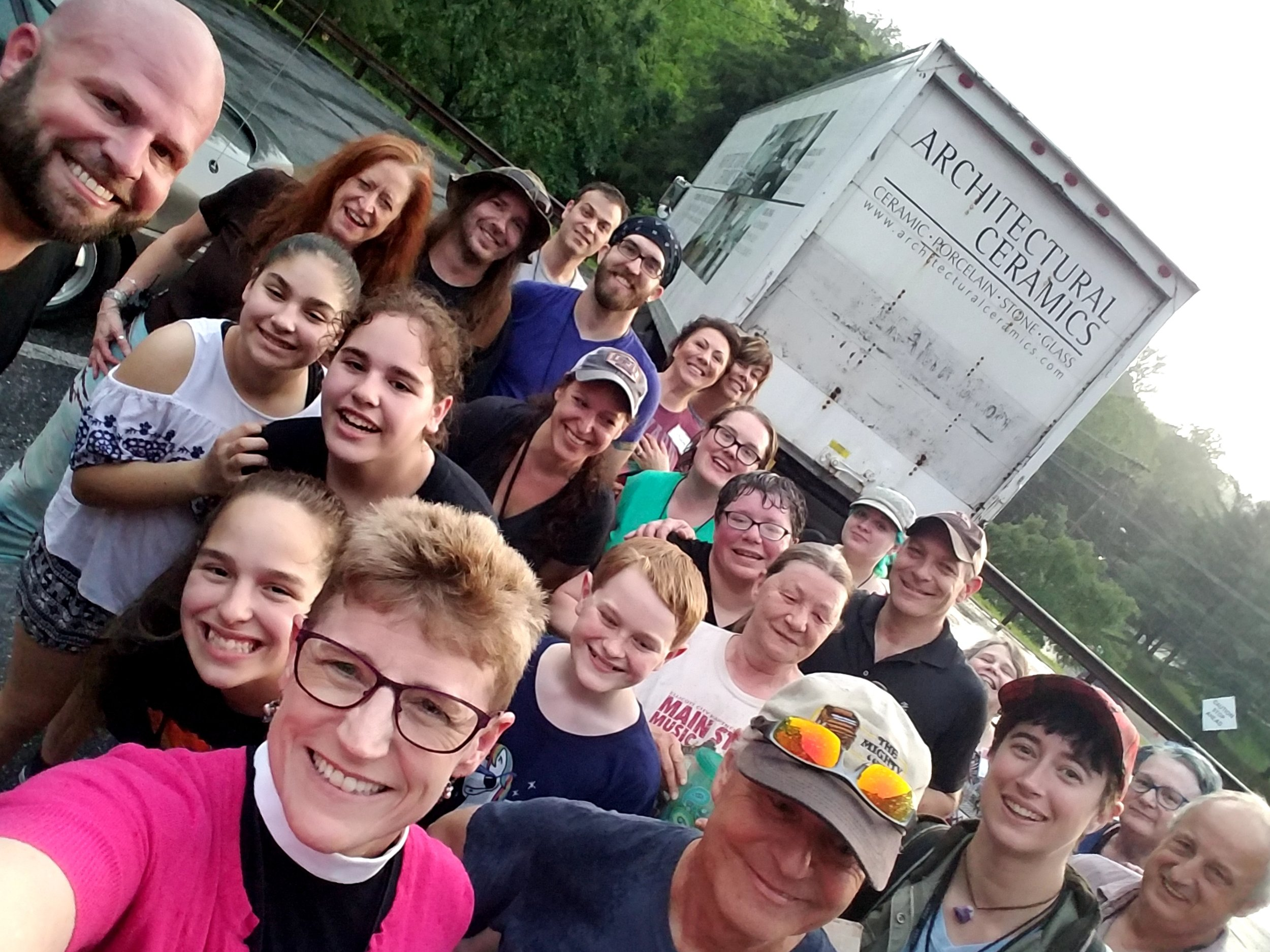 This is Chuck (upper left corner of picture). Chuck is from McLean Bible Church. Chuck drove a whole truckload of supplies in a raging thunderstorm to St. Peter's. Be like Chuck.