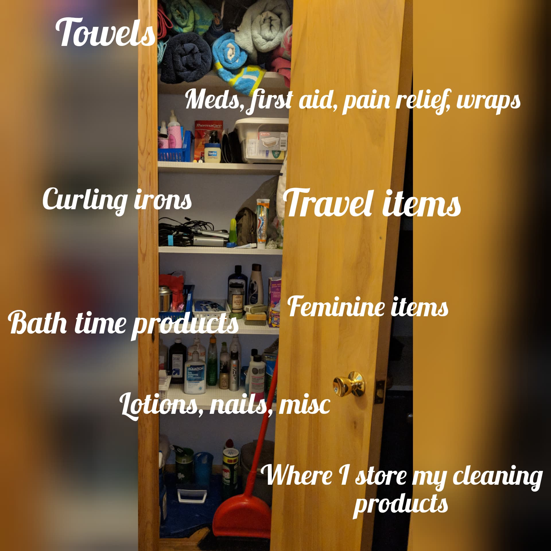 I store more items in here than I do in my bathroom cabinets, as these are items I don't use daily.