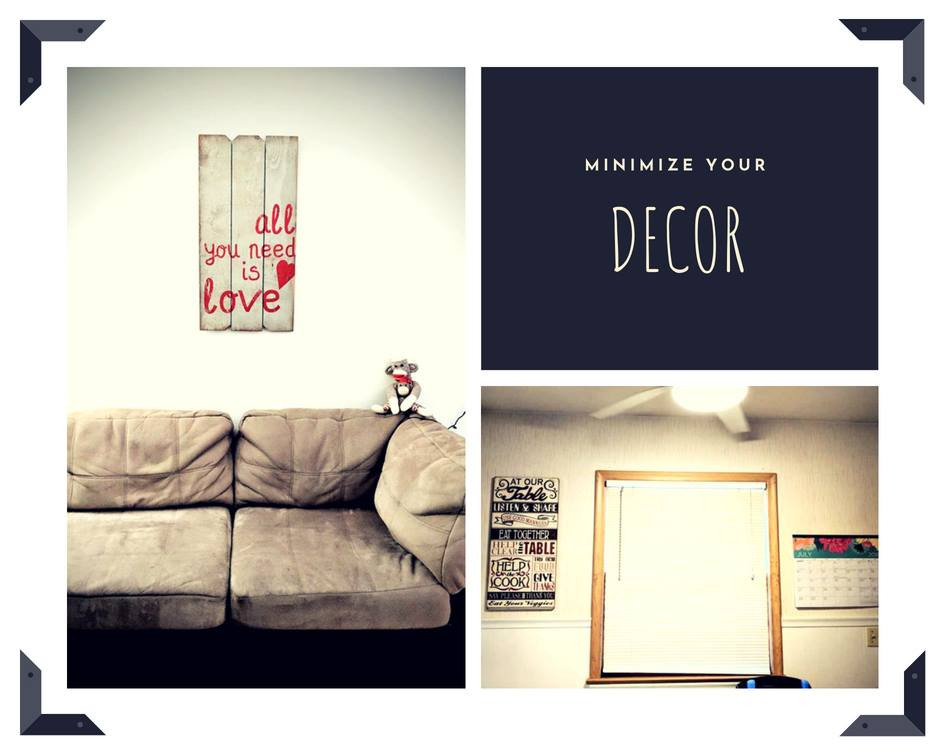 Left, Living room - sign was a wedding gift. Right, Kitchen - planner and house rules sign.