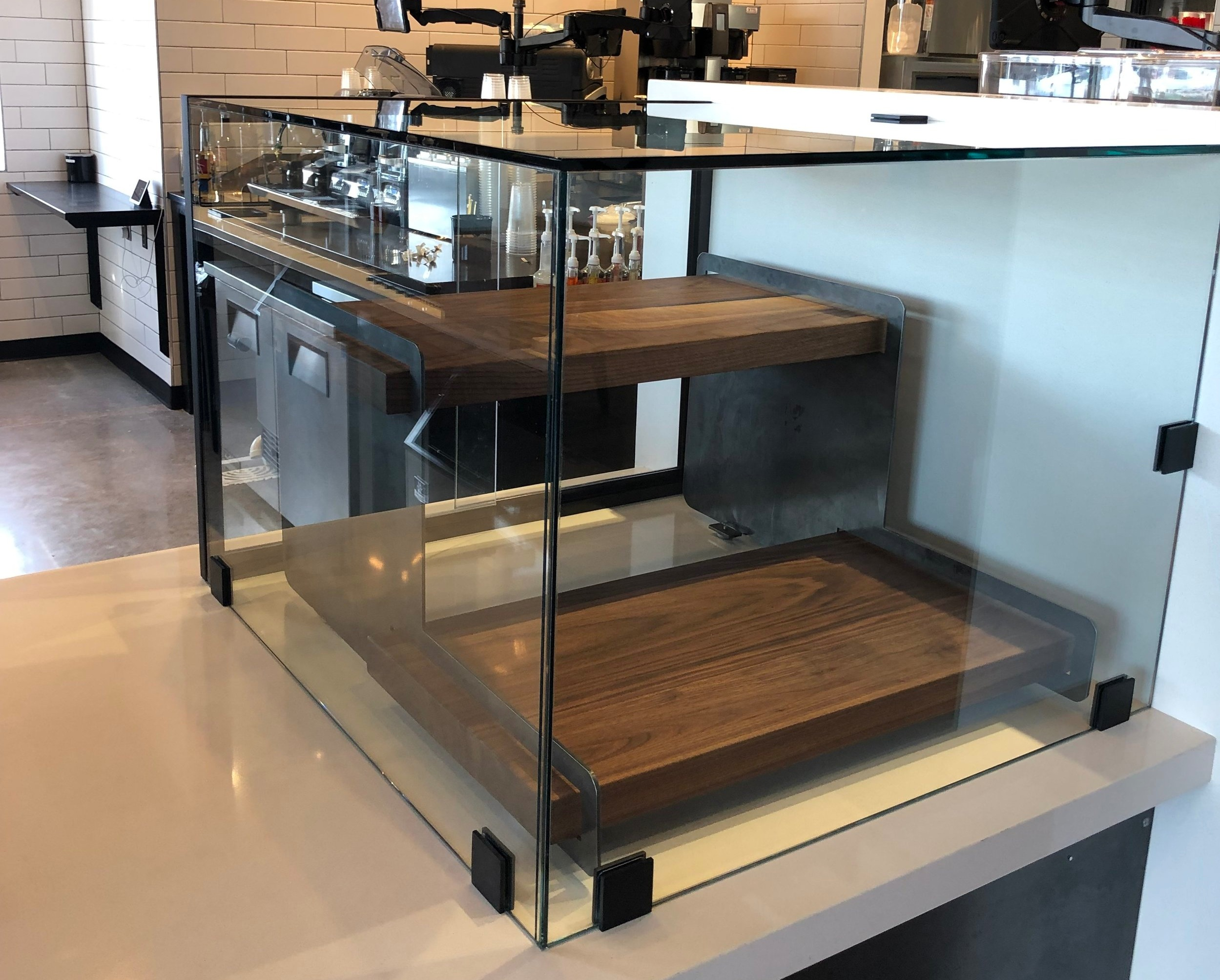 Glass Pastry Case with sliding doors