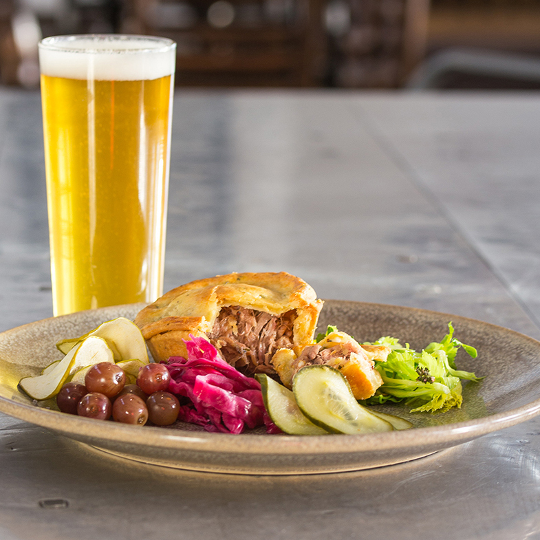 GOLDEN CITY HOTEL -  THE GOLDEN PORK PIE  Western Plains Pork encased in a delicious golden pastry. This savoury pork pie is served with a side of house made pickles, apple crisps and Bacchus Marsh leaves paired with Athletic Club Pale Ale.   BEER MATCH:  Athletic Club Brewery Pale Ale   Price:  $18 or $25 with beer  Gluten Free:  No  Where:  Golden City Hotel, 427 Sturt St, Ballarat