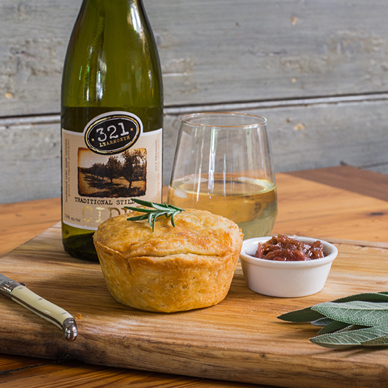 CAFE SIDRA - PORK & CIDER PIE  The apples used to make the delicious 321 Still Cider grow 3km from Cafe Sidra. Our pie will be a short crust casing &it's in the case that the cider works it's magic. Slow cooked Nelson Springs Pork &Learmonth potatoes team with a gorgeous gravy & puff pastry lid.   CIDER MATCH:   321 Cider Traditional Still   Price:  $10 or $20 with cider  Gluten Free:  No  Where:  Cafe Sidra, 321 High Street, Learmonth